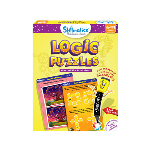 Full size cover page of the book 'Skillmatics Logic Puzzles- educational write and wipe activity mats for kids multicolour SKILL146LPS'