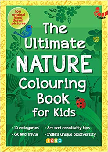 Full size cover page of the book 'THE ULTIMATE NATURE COLOURING BOOK FOR KIDS'