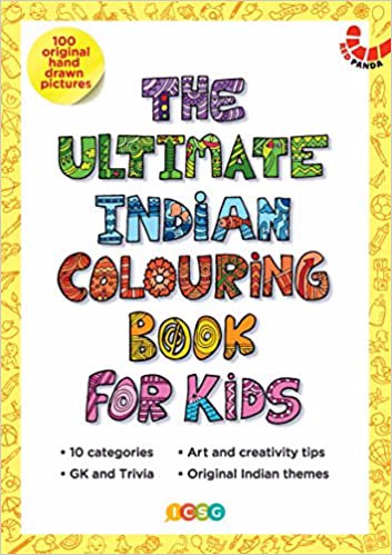 Full size cover page of the book 'THE ULTIMATE INDIAN COLOURING BOOK FOR KIDS'